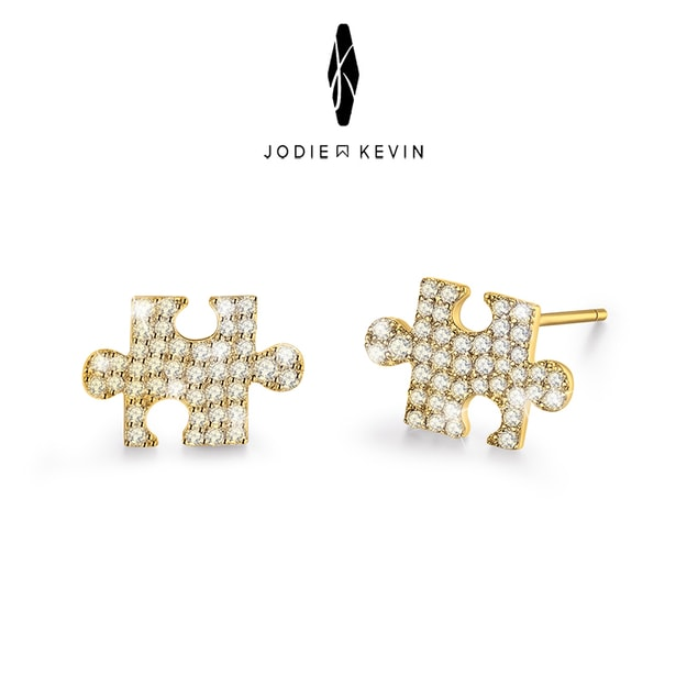 Product Detail - JODIE&KEVIN Jigsaw 925 Silver Earrings #Gold 1 Pair - image 0