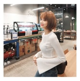 KOREA MAGZERO Jewel Neck Bell Sleeve Ribbed Knit Top Ivory One Size(S-M) [Free Shipping]