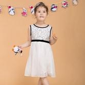 贝瑞英格  小童拼接蕾丝连衣裙 黑白 110