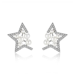 ARIEL Sterling Silver Star and Pearl Earrings
