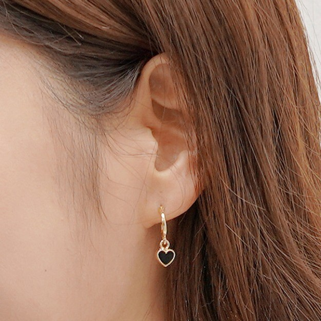 Product Detail - SSUMPARTY Heart Dangle Earrings #Gold+Black - image 0