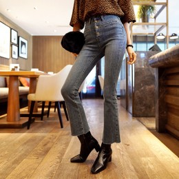 WINGS High Rise Cropped Boot-Cut Jeans #Blue M(27-28)