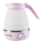 AROMA Collapsible Portable Water Kettle with Dual Voltage 0.6L Pink AWK-080MVP