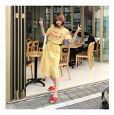 MAGZERO [Limited Quantity Sale] Daily Casual Cutout Flare Dress Yellow One Size(S-M)