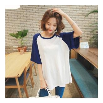韩国正品 [免费配送] MAGZERO 宽松牛角袖T恤 #海军蓝 One Size(Free)