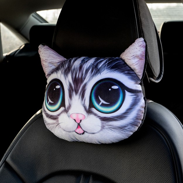 Product Detail - RAMBLE Creative 3D Simulation Dog Head Car Headrest Big Eye Cat 1 piece - image 0