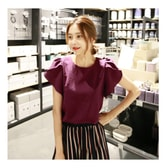 MAGZERO [Limited Quantity Sale] Tulip Sleeve Blouse Plum One Size(S-M)