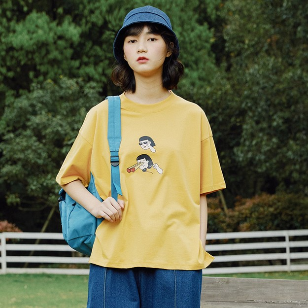 商品详情 - 爱心发射宽松薄款短袖T恤 黄色 - L - image  0