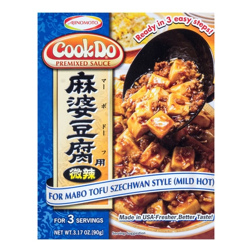 Cook Do Sause Mix Mabo Tofu Mild-Hot Blue cooked 90g
