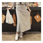 KOREA MAGZERO Natural Soft Long Skirt Grey One Size(S-M) [Free Shipping]