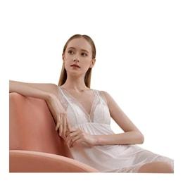 [中国直邮] JINSANT金三塔 桑蚕丝bra in带罩杯性感吊带睡裙YZFBA302# 白色 160(M)号
