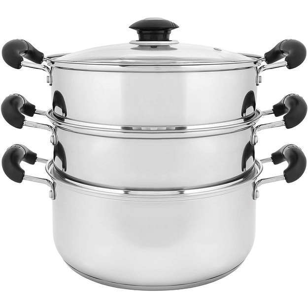 """Product Detail - 10\"""" 24cm Stainless Steel 3 Tier Steamer Steaming Pot 4pcs  INDUCTION COMPATIBLE - image  0"""