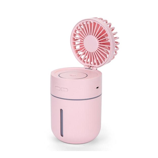 商品详情 - 中国直邮  多功能可移动式桌面迷你USB充电补水加湿喷雾风扇  粉色  1件 - image  0