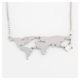ARIEL Globe map necklace