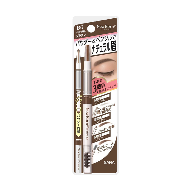 Product Detail - SANA NEW BORN EX Eyebrow Mascara And Pencil #B6 Natural Brown 1pc - image 0