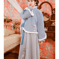 China Direct Mail JANE NA 2019 Women's Republic of China Chinese Style Woolen Autumn and Winter Tang Costume Blue#1piece