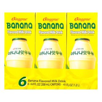 韩国BINGGRAE宾格瑞 香蕉牛奶 6盒装 Best Before 4/18/2018