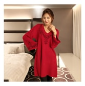 MAGZERO [Limited Quantity Sale] Embroidered Bell Sleeve Knit Dress Wine One Size(Free)