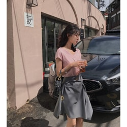 PRINSTORY 2019 Spring/Summer Design Style Skirt Long/Grey/M