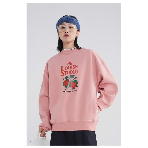 商品详情 - PROD潮BF风BF风复古草莓印花圆领卫衣 粉色  2 码 - image  0