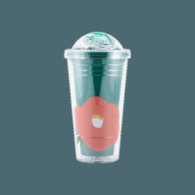 商品详情 - 名创优品Miniso 当代系列奥拉双层吸管塑料杯 480ml 绿色 - image  0