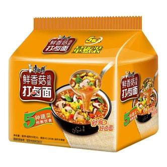 康师傅 鲜香菇鸡蛋打卤面 量贩装 5包入 490g
