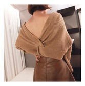 KOREA MAGZERO Both V-Neck Twist Back Sweater Beige One Size(S-M) [Free Shipping]