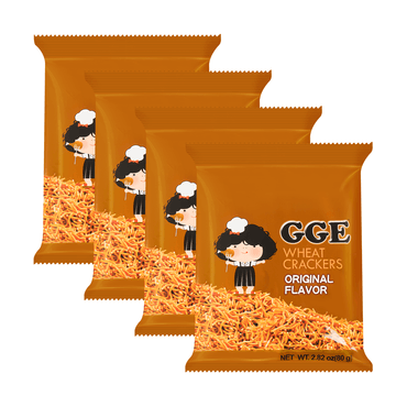 WEILIH GOOD GOOD EAT Wheat Cracker Original Ramen Flavor 80g (Random Delivery of 2 Packaging) * 4