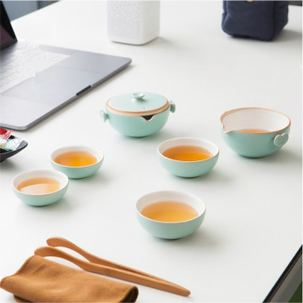 Product Detail - CaiTongchang Travel tea set portable ceramic kiln kiln office small fast passenger cup one pot four cups Cyan - image 0