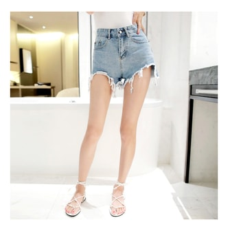 KOREA MAGZERO Frayed Hem High Rise Denim Shorts #Blue M(27-28) [Free Shipping]