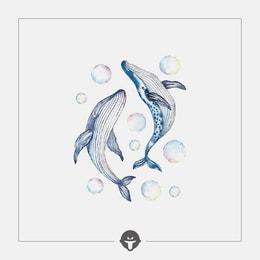 @BECOME Original Tattoo Stickers Whale birth Three Piece