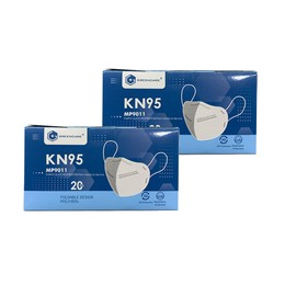 中国GREENCARE格林特卫 5层加护KN95 口罩 可塑型鼻夹+舒适鼻垫+超声波加强筋 20片/盒 2盒装