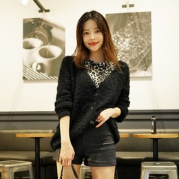 SSUMPARTY Fuzzy Knit Cardigan #Black One Size(S-M)