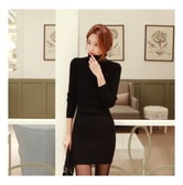 MAGZERO [Limited Quantity Sale] Turtelneck Ribbed Knit Bodycon Mini Dress Black One Size(S-M)