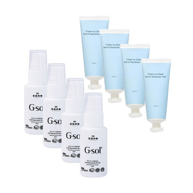 Product Detail - 【Hand Sanitizer Combo 8pcs】Anti Bacterial Spray 30ml x 4pcs + Hand Sanitizer Gel 50ml x 4pcs - image  0