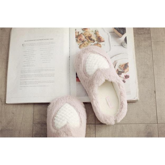 商品详情 - Premium Down 小兔绒柔软电锈菠萝纹爱心室内家居拖鞋 粉色 36-37 - image  0