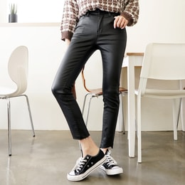 SSUMPARTY Coated Skinny Ankle Jeans With Wave-Hem #Black M(27-28)