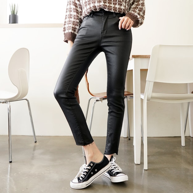 Product Detail - SSUMPARTY Coated Skinny Ankle Jeans With Wave-Hem #Black M(27-28) - image 0