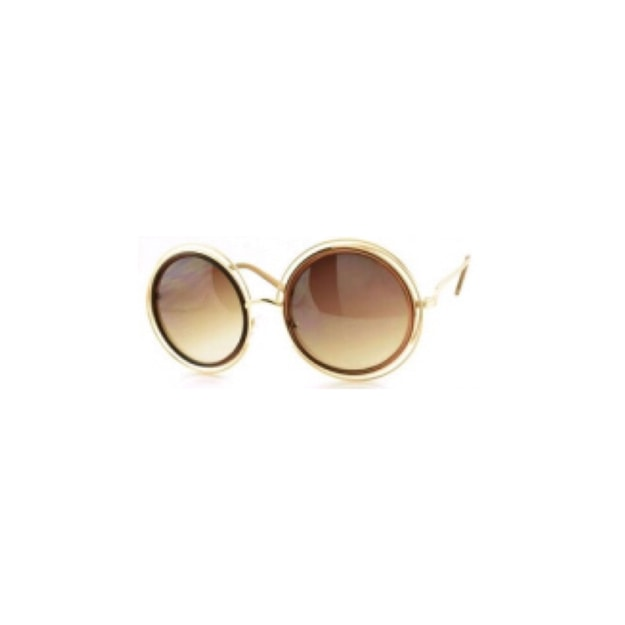Product Detail - RETRO POP Fashion Sunglasses 7178 Gold Frame/Brown Lens - image 0