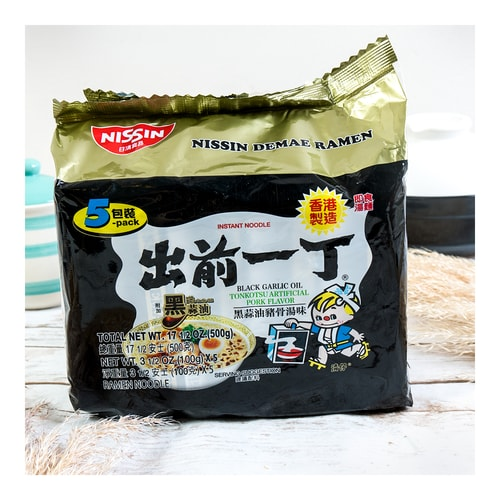 NISSIN Demae Ramen (Black garlic pork noodle soup) 500g