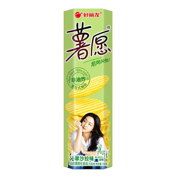 商品详情 - 韩国ORION好丽友 非油炸薯愿薯片 沁翠沙拉味 104g - image  0