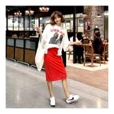 韩国正品 MAGZERO 宽松T恤 #乳白色 + 棱纹铅笔裙 #红色 两件套 均码(S-M) [免费配送]
