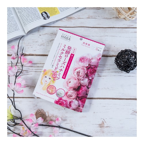 HABA Rose Honey & Milk Ceramide Deep Moisture Sheet Mask  5sheets