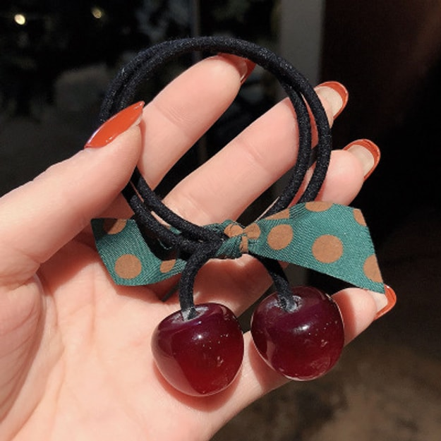 Product Detail - Cinderella selected girl\'s hair rings ins hollow simple geometry lovely hair rope headdress #Wine red cherry - image  0