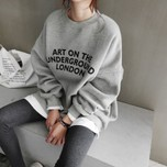 NANING9 Letter round neck loose hoodie gray one size