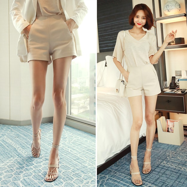 Product Detail - WINGS High Waist Side-Zip Shorts #Beige L(29-30) - image 0