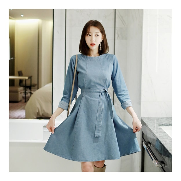 Product Detail - KOREA MAGZERO Denim Flare Dress #Light Blue One Size(S-M) [Free Shipping] - image 0