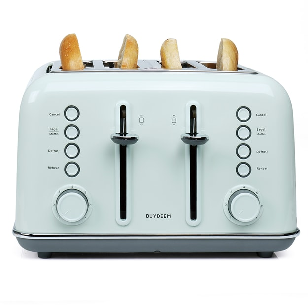 Product Detail - BUYDEEM DT-6B83G 4-Slice Teal Stainless Steel Vintage Toaster 1pc - image  0
