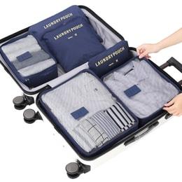 EDO 旅行收纳袋套装内衣鞋衣服六件套 便携整理袋子必备分装旅游行李箱收纳包 TH1140 深蓝色