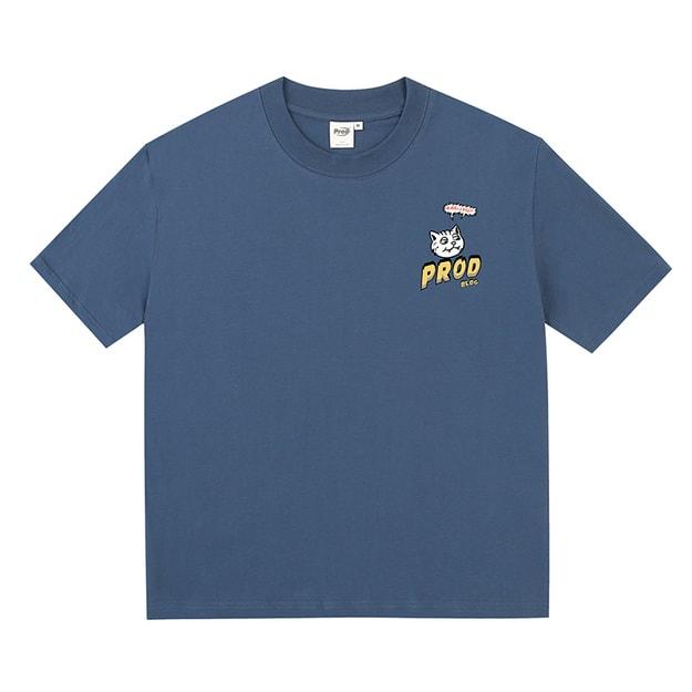 商品详情 - 漫画猫宽松薄款短袖T恤 蓝色 - M - image  0
